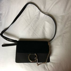 Black Crossbody Leather Suede Chain Circle Purse